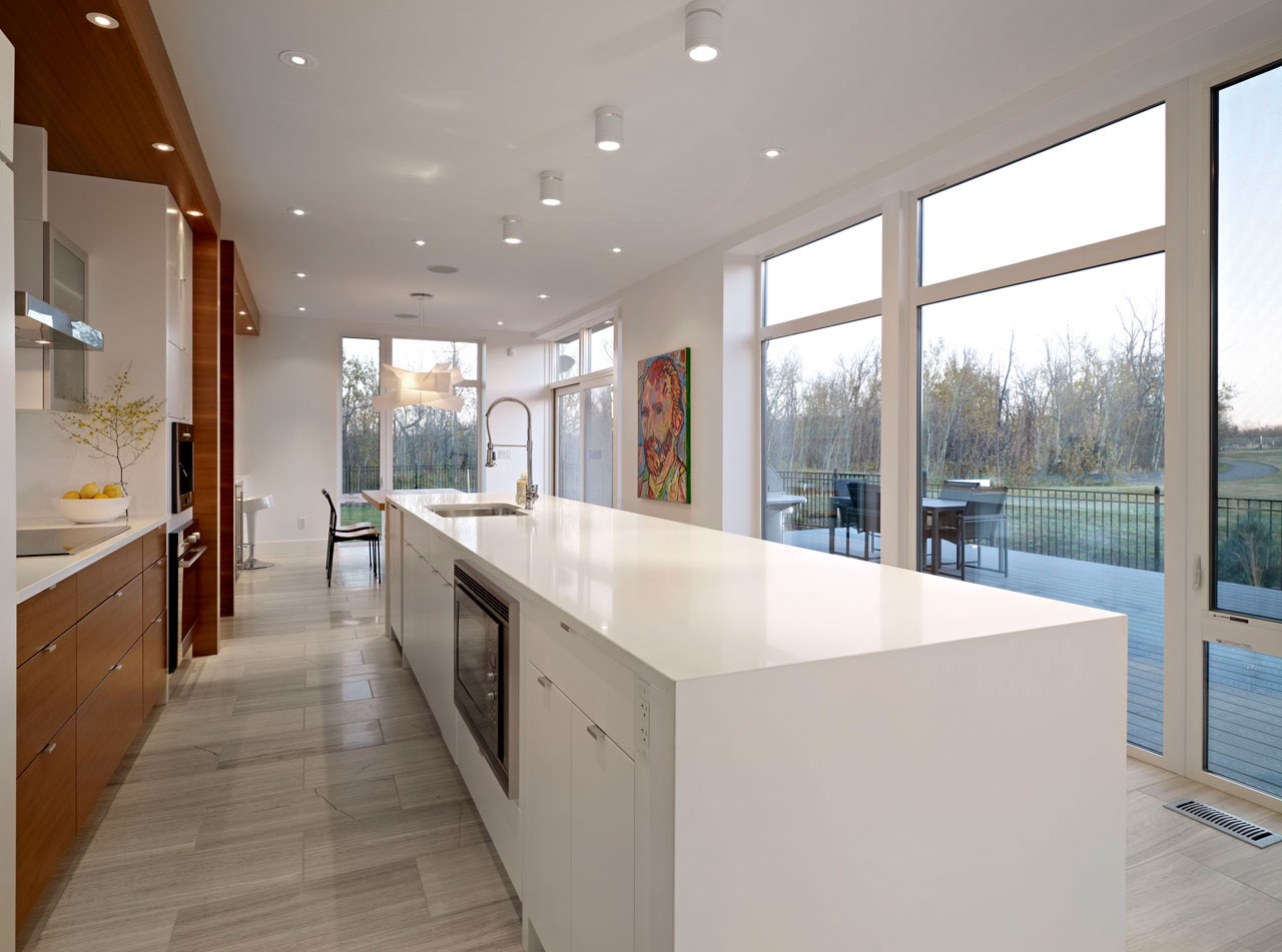 White Kitchen Island, Contemporary Home in Edmonton, Canada