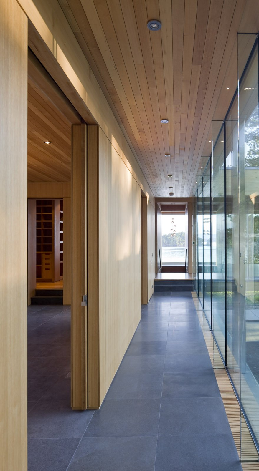 Glass Walls, Wood Ceiling, Oceanfront Home in British Columbia, Canada