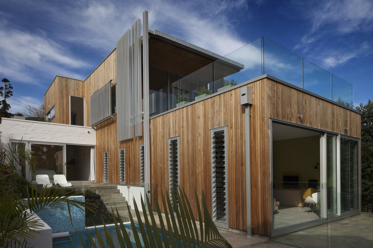 Wood Cladding, Glass Balustrading, 1950-60s Inspired Home in Auckland, New Zealand