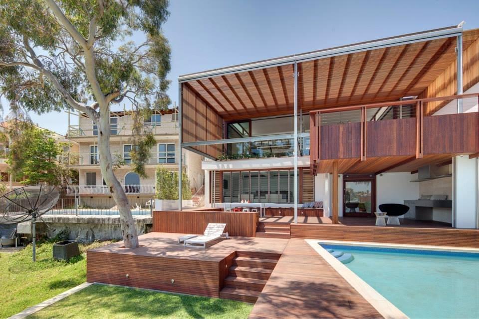 Wood Decks, Pool, Modern Waterfront Home in Sydney, Australia