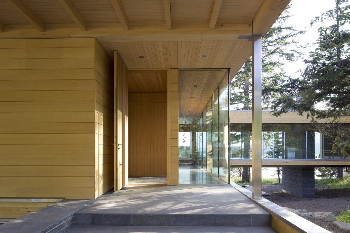 Wood & Glass Entrance, Oceanfront Home in British Columbia, Canada