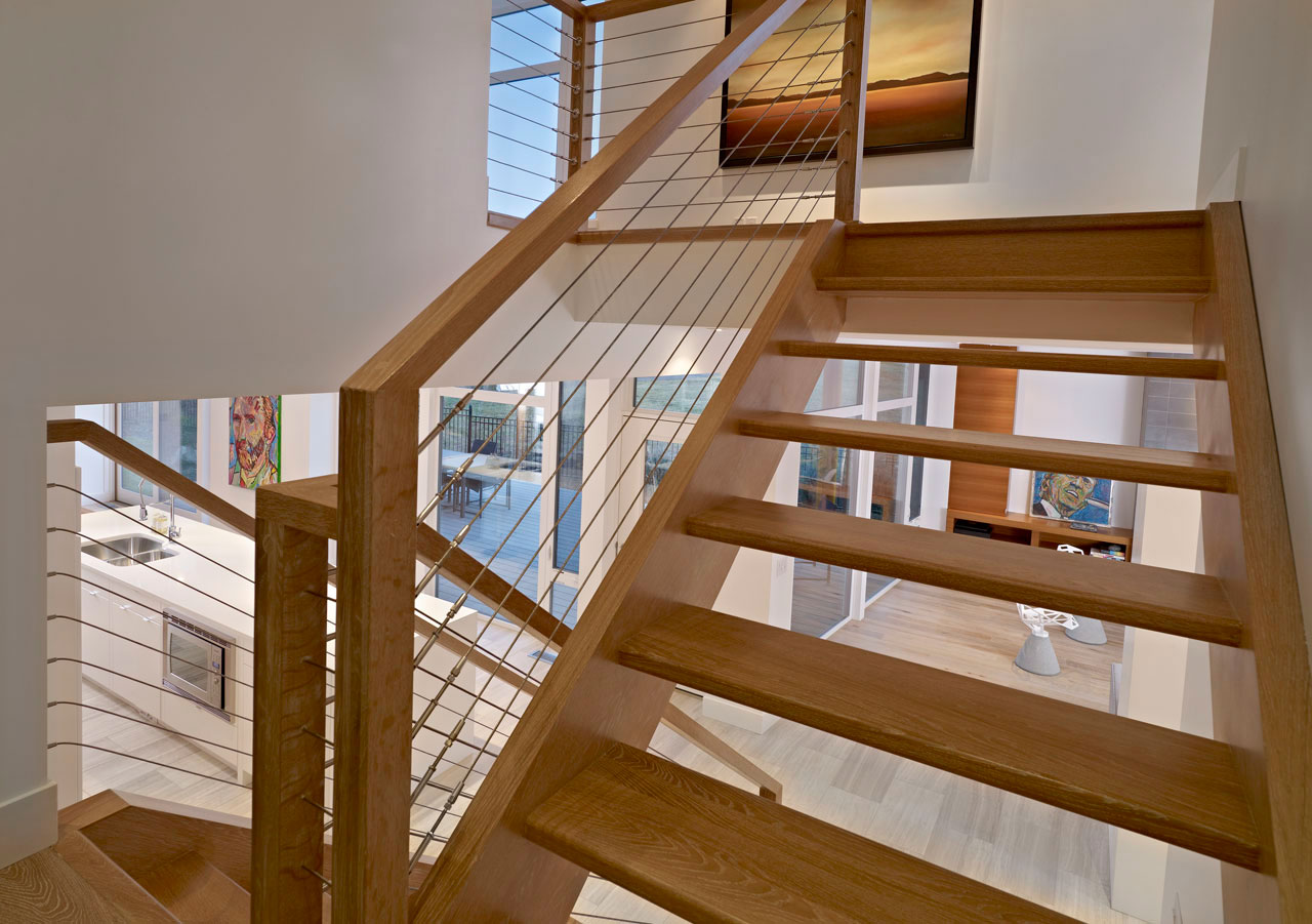 Wood & Metal Stairs, Contemporary Home in Edmonton, Canada