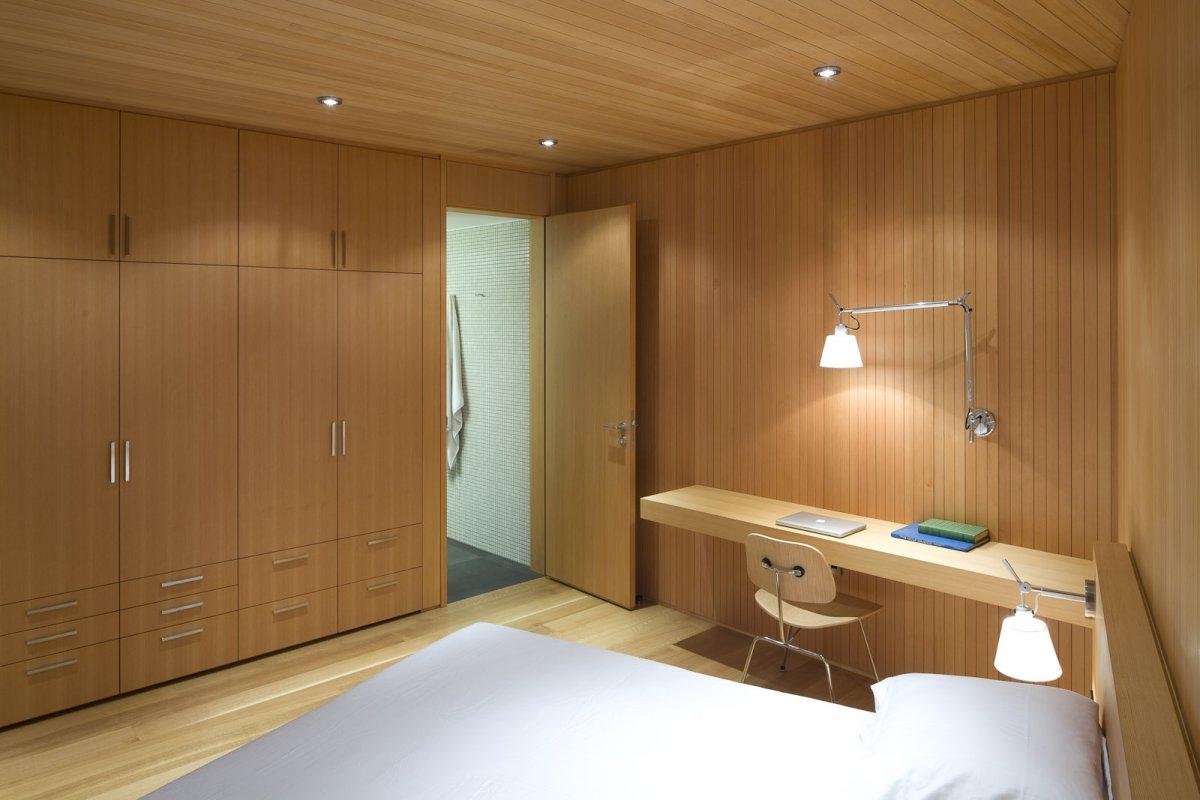 Wooden Bedroom, Oceanfront Home in British Columbia, Canada