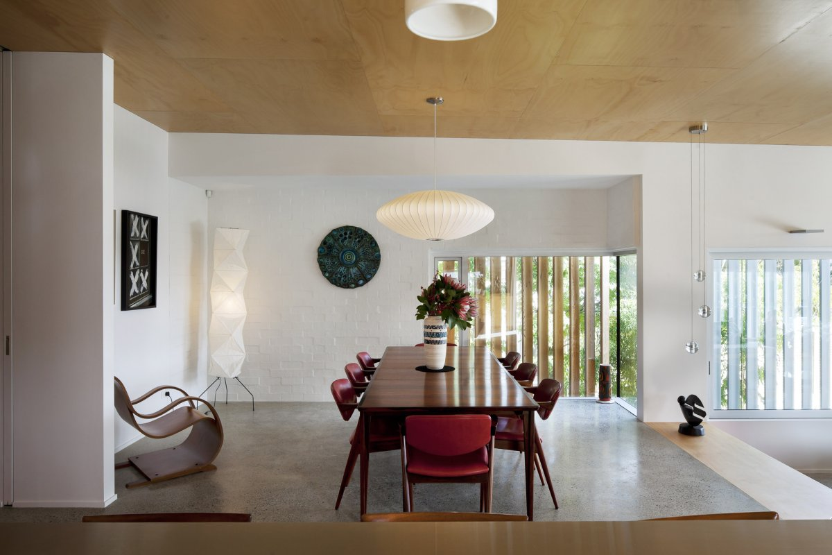 Wooden Dining Table, 1950-60s Inspired Home in Auckland, New Zealand