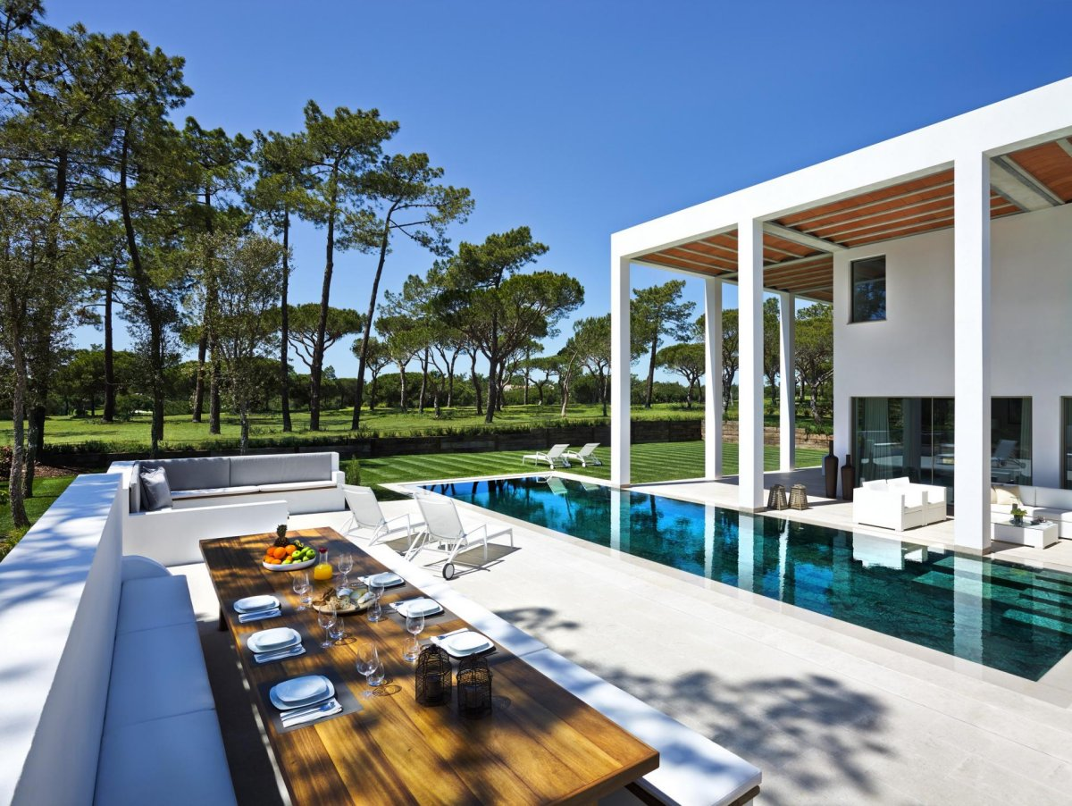 Wooden Outdoor Dining Table, Modern Home in Quinta do Lago, Portugal