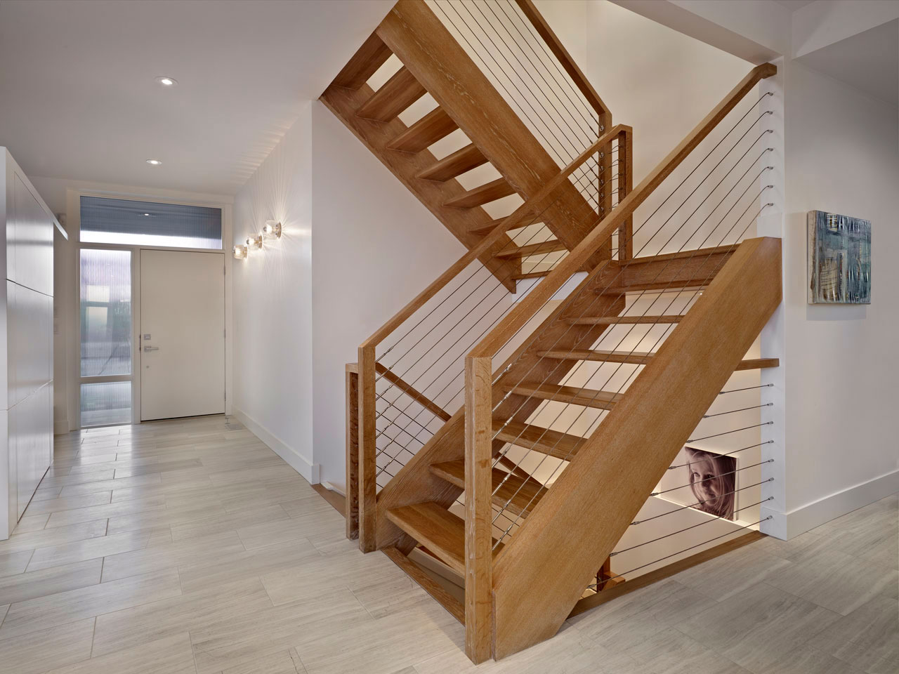Wooden Stairs, Contemporary Home in Edmonton, Canada