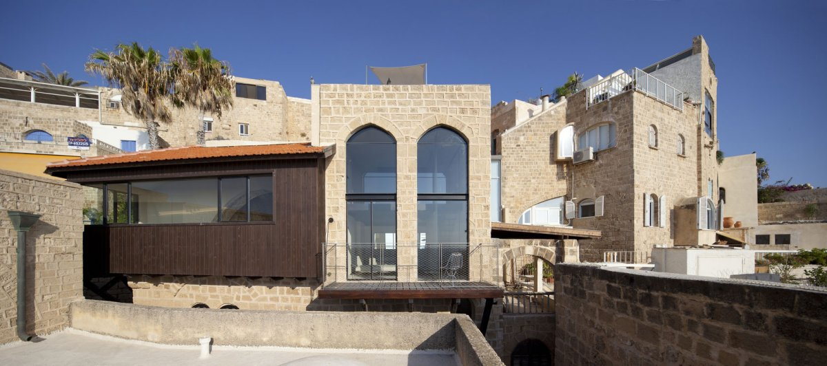 Balcony, Large Windows, Contemporary Renovation in Old Jaffa, Tel Aviv