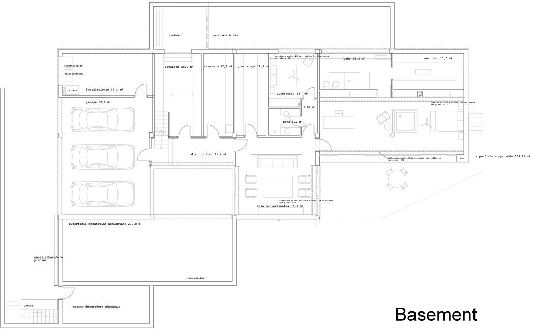 Basement Floor Plan, Stylish Glass Home in Valencia, Spain