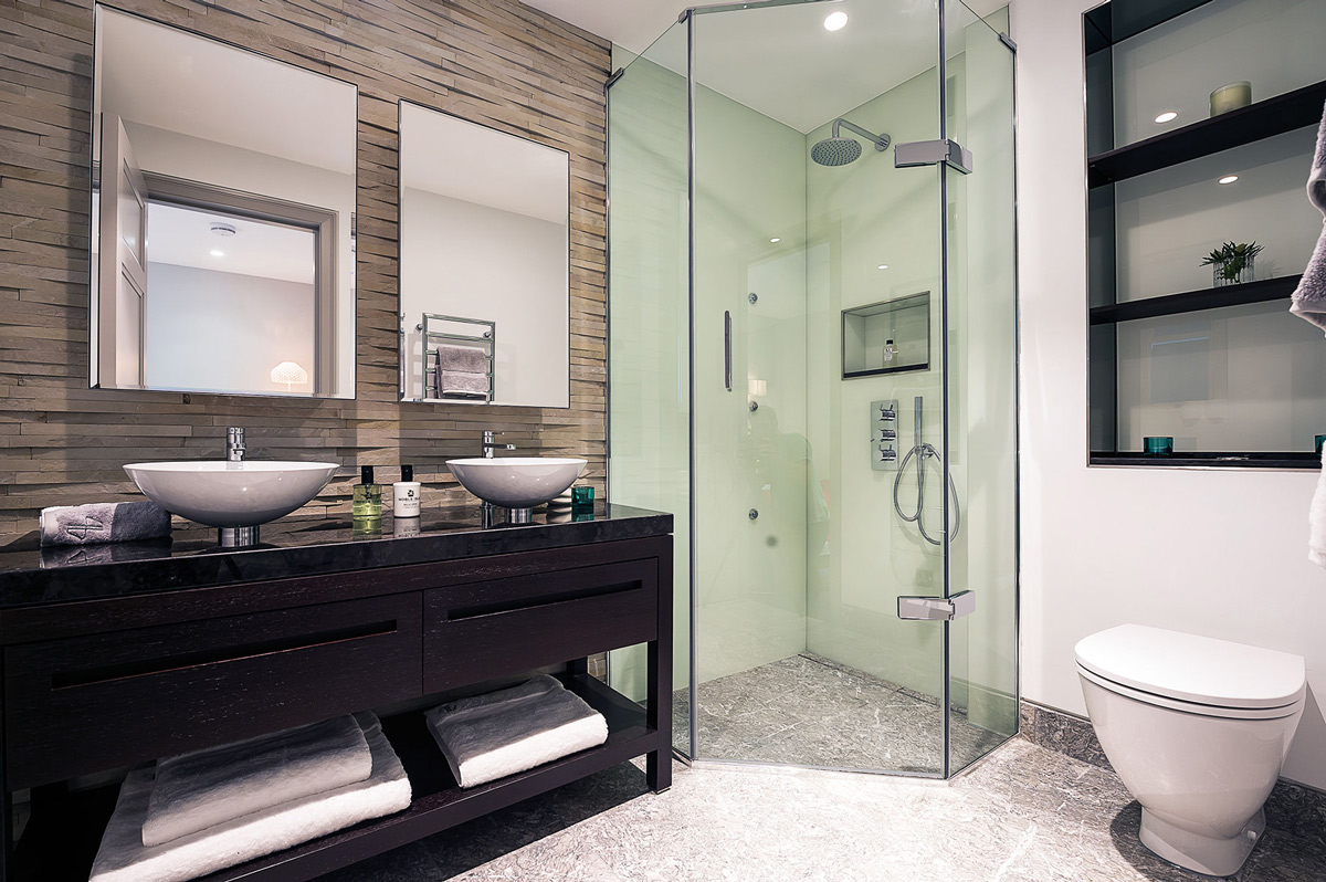 Bathroom, Glass Shower, Penthouse Apartment in St James's, London