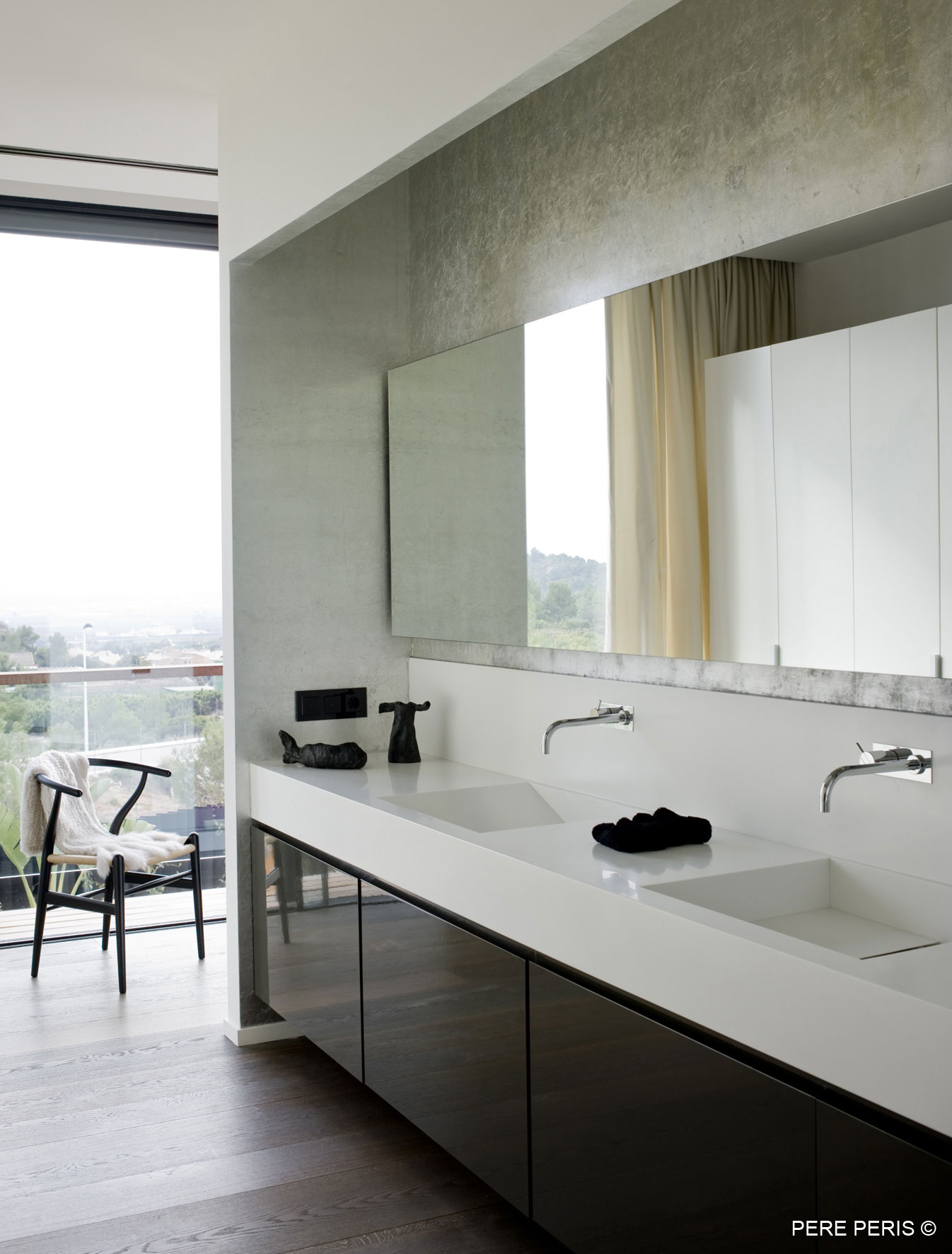Bathroom, Large Mirror, Stylish Glass Home in Valencia, Spain