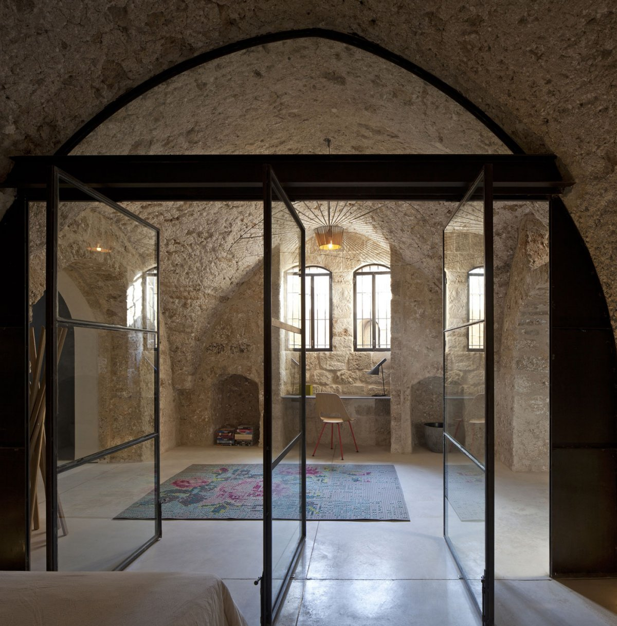 Bedroom, Glass Doors, Contemporary Renovation in Old Jaffa, Tel Aviv