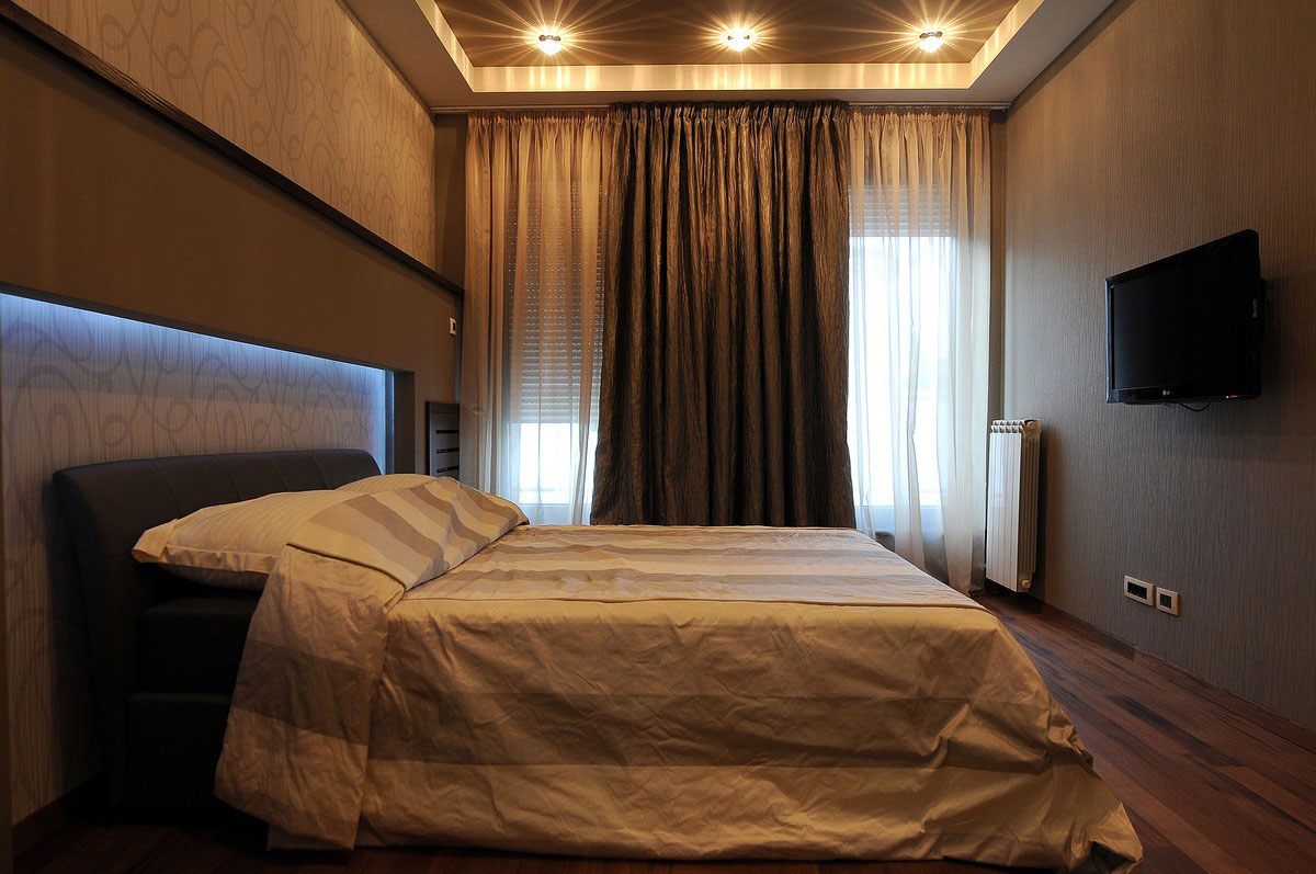 Bedroom, Wood Flooring, Penthouse in Belgrade, Serbia
