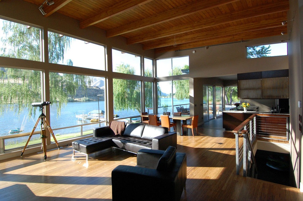 Black Leather Sofas, Glass Walls, Living Room, Stunning Home on the Columbia River in Washington