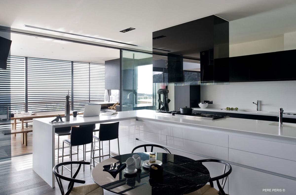 Black & White Kitchen, Breakfast Table, Stylish Glass Home in Valencia, Spain
