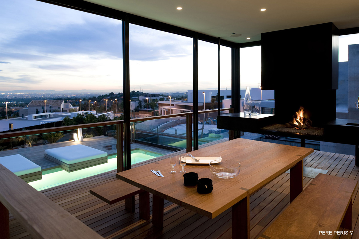 Balcony, Modern Fireplace, Balustrading, Stylish Glass Home in Valencia, Spain