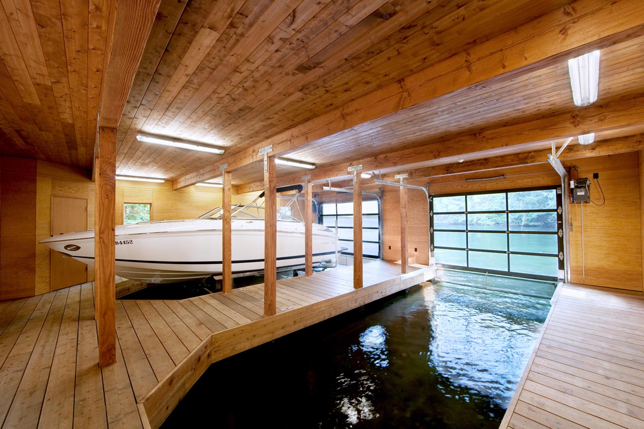 Boat, Electric Doors, Boathouse Renovation and Extension in Muskoka Lakes, Ontario