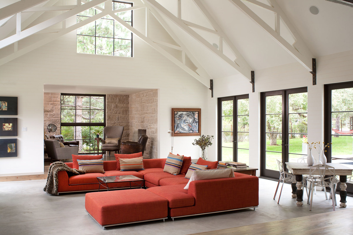 Burnt Orange Sofa, High Ceilings, Living Space, Modern and Rustic Home in Boulder, Colorado
