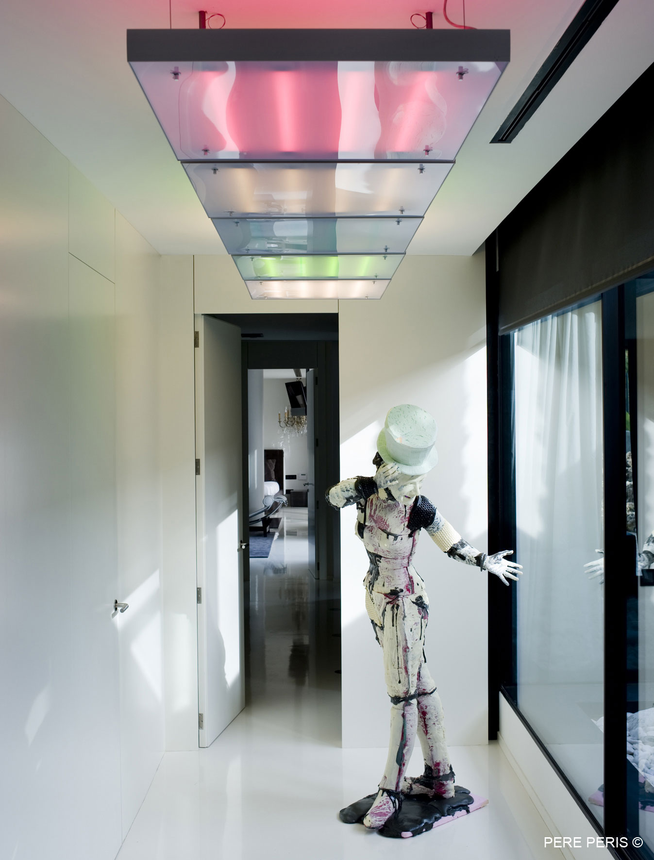 Colored Lighting, Sculpture, Stylish Glass Home in Valencia, Spain
