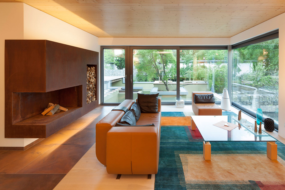 Colorful Living Room, Fireplace, Glass Walls, Contemporary Home in Berlin, Germany