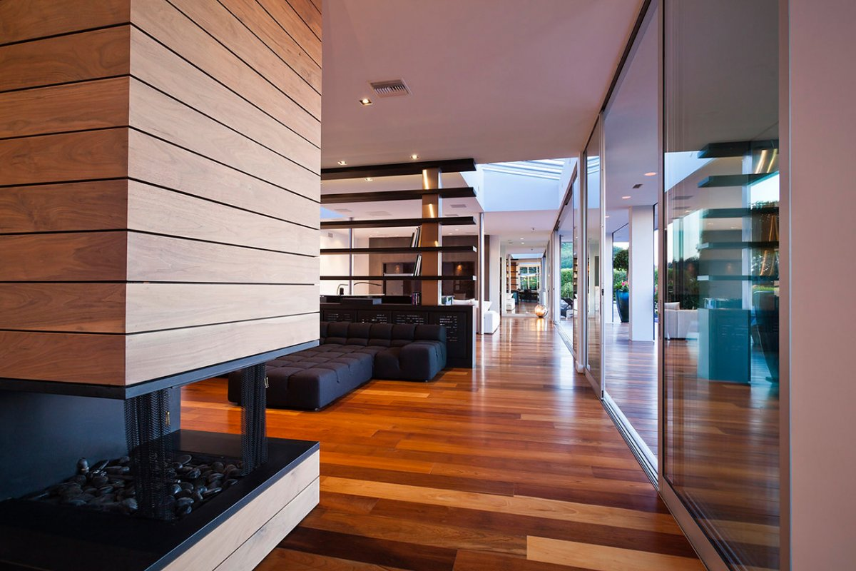 Contemporary Fireplace, Renovation of a Hal Levitt Home in Beverly Hills