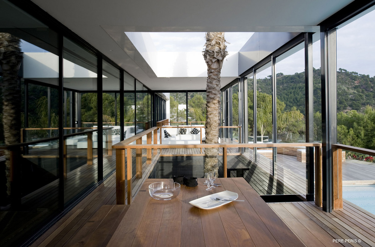 Dining Table, Balcony, Stylish Glass Home in Valencia, Spain