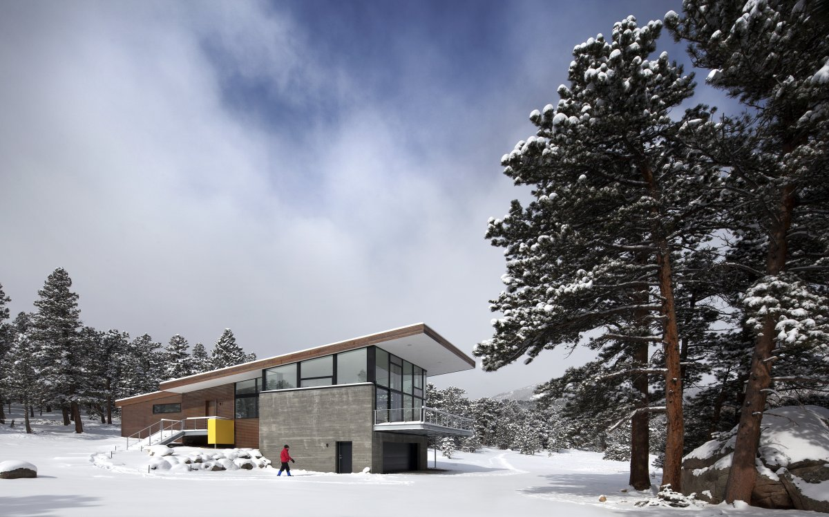 Entrance, Contemporary Cabin in the Rocky Mountains
