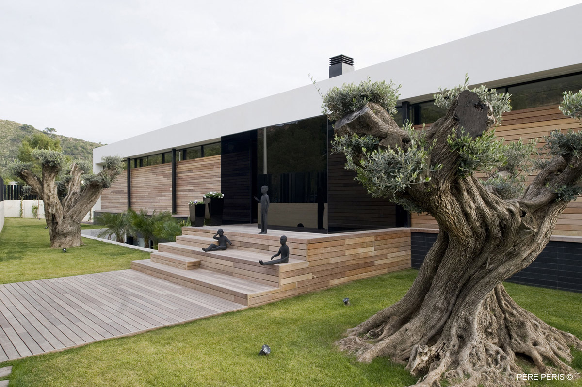 Entrance, Wood Cladding, Stylish Glass Home in Valencia, Spain