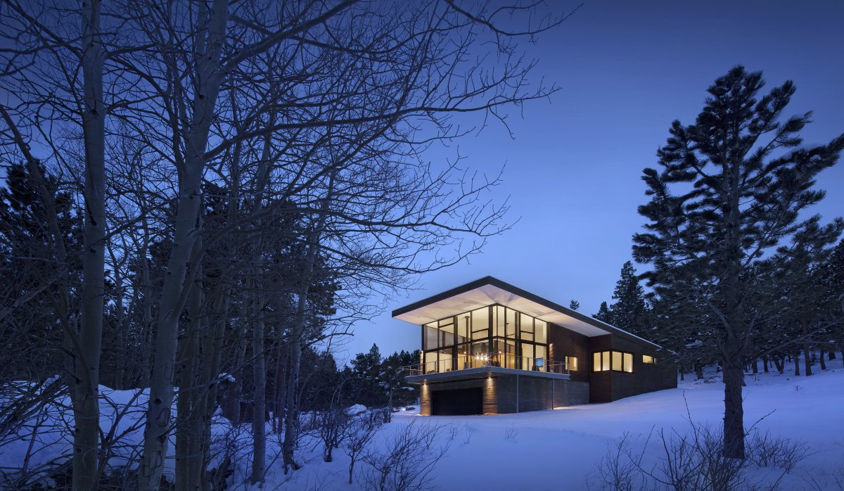 Evening, Lighting, Contemporary Cabin in the Rocky Mountains