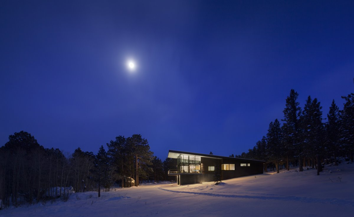 Evening, Lights, Contemporary Cabin in the Rocky Mountains
