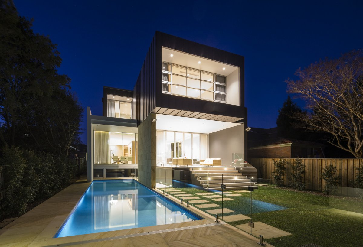 Evening, Pool, Lighting, Contemporary Home in Strathfield, Australia