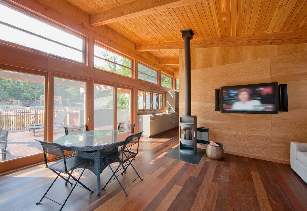 Fireplace, Dining Table, Kitchen, Open Plan, Boathouse Renovation and Extension in Muskoka Lakes, Ontario