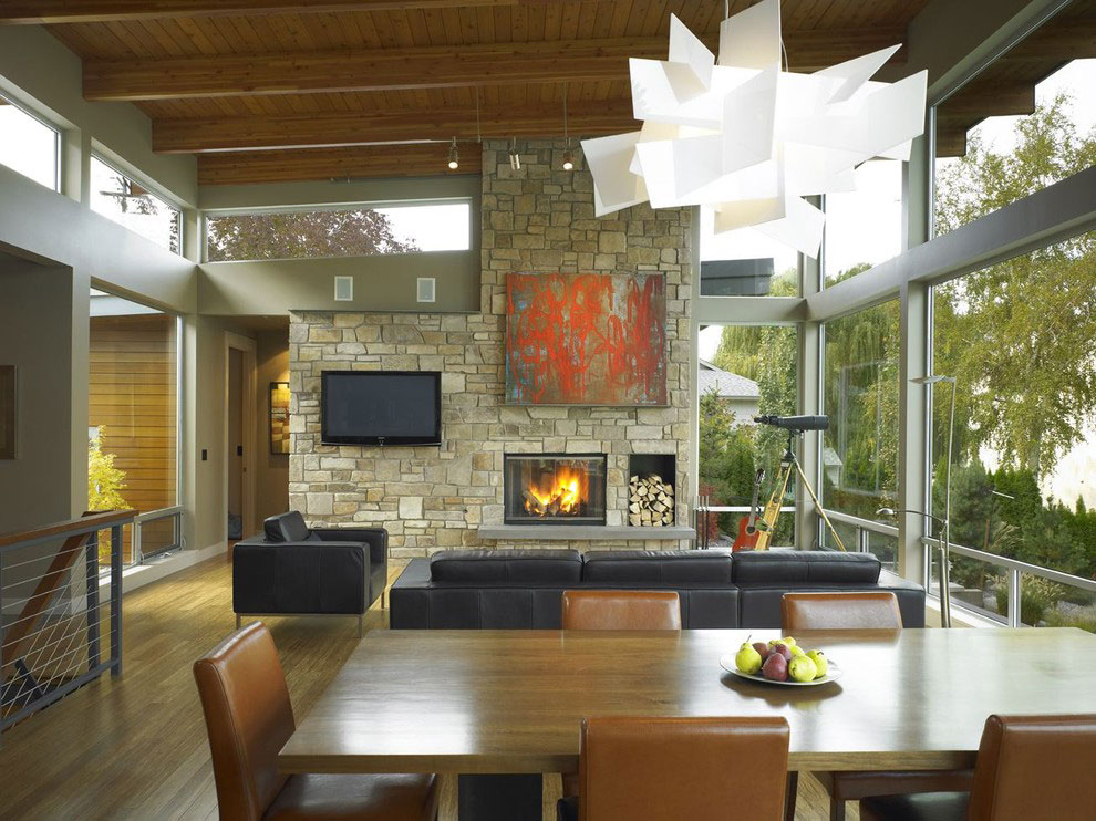 Fireplace, Stone Walls, Lighting, Dining Table, Stunning Home on the Columbia River in Washington