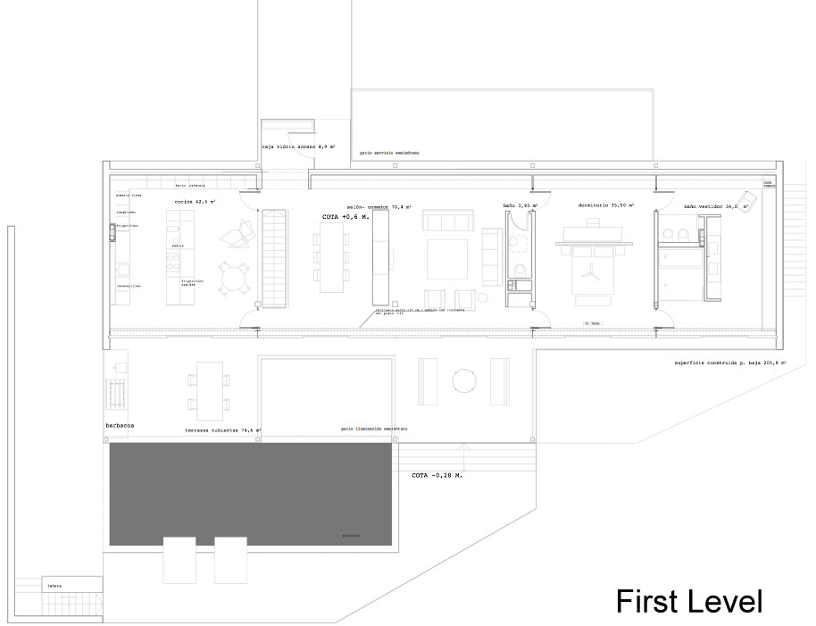 First Floor Plan, Stylish Glass Home in Valencia, Spain