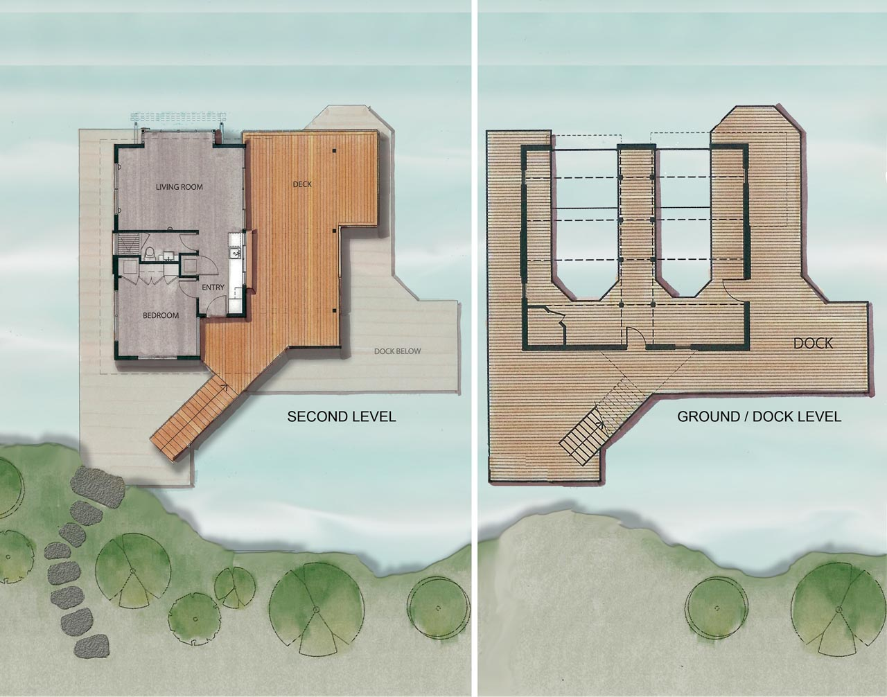 Ground / Dock, Second Level Plan, Boathouse Renovation and Extension in Muskoka Lakes, Ontario