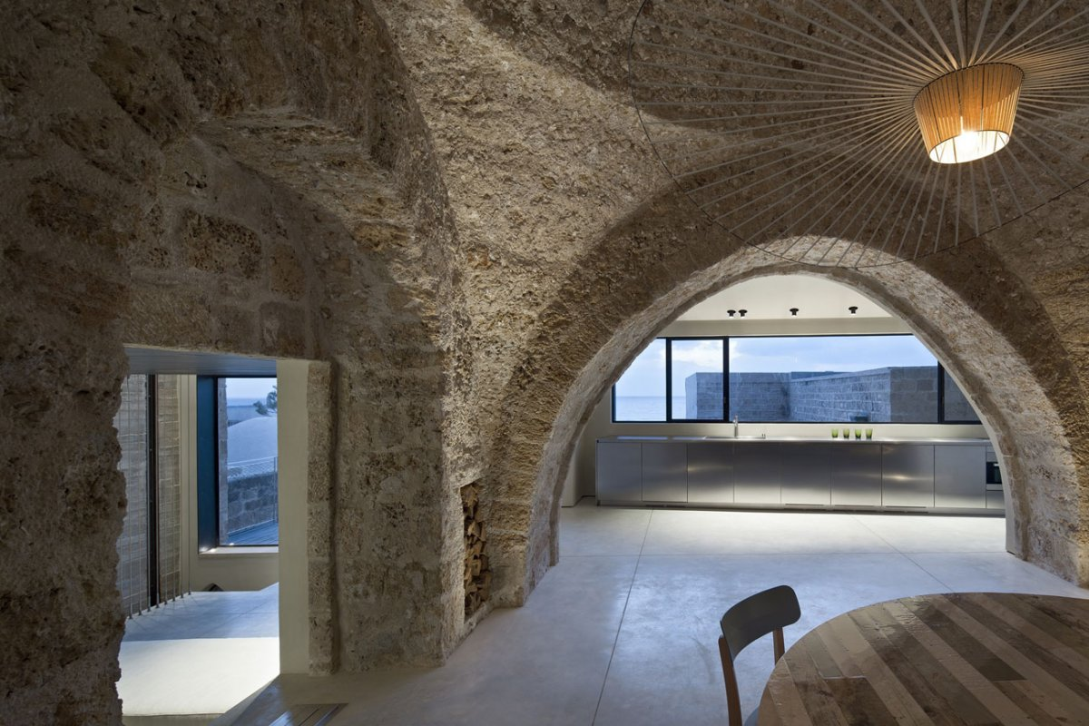 Kitchen, Dining Room, Lighting, Contemporary Renovation in Old Jaffa, Tel Aviv