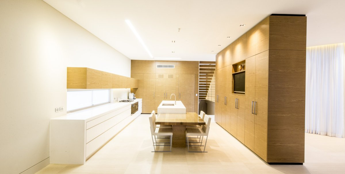 Kitchen, Dining Table, Contemporary Home in Strathfield, Australia