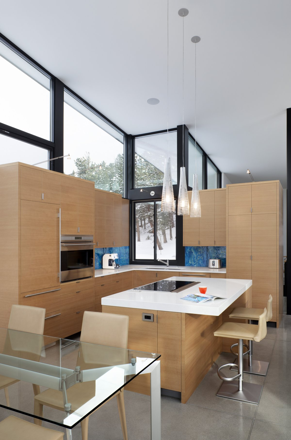 Kitchen Island, Glass Dining Table, Contemporary Cabin in the Rocky Mountains