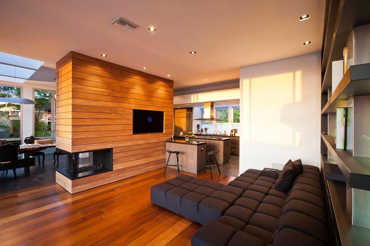 Kitchen, Modern Fireplace, Sofa, Renovation of a Hal Levitt Home in Beverly Hills