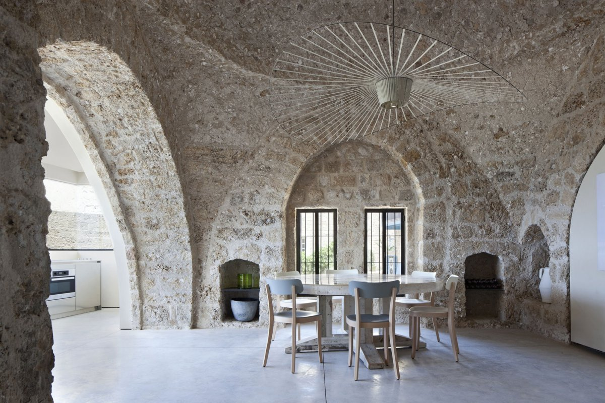 Lighting, Dining Table, Contemporary Renovation in Old Jaffa, Tel Aviv