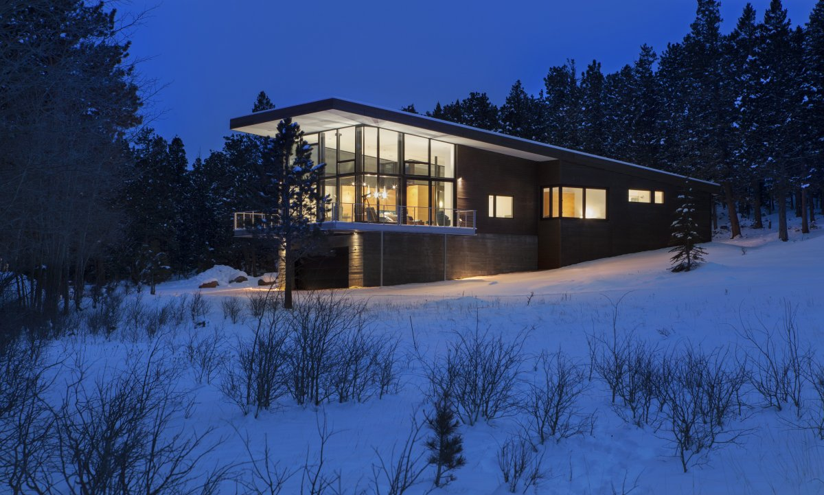Lighting, Dusk, Contemporary Cabin in the Rocky Mountains