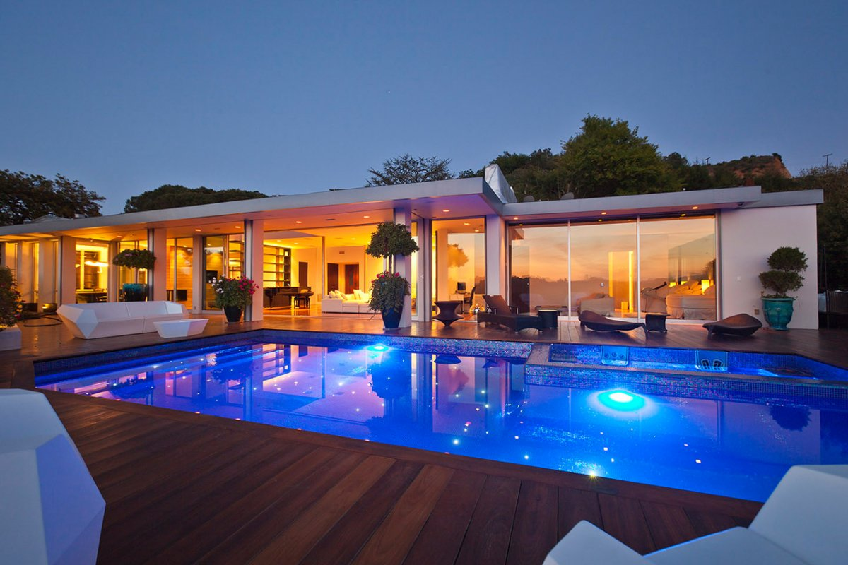 Lighting, Glass Walls, Pool, Deck, Renovation of a Hal Levitt Home in Beverly Hills