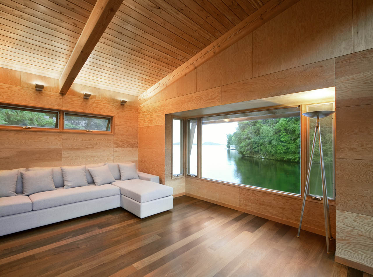 Sofa, Living Room, Views, Boathouse Renovation and Extension in Muskoka Lakes, Ontario