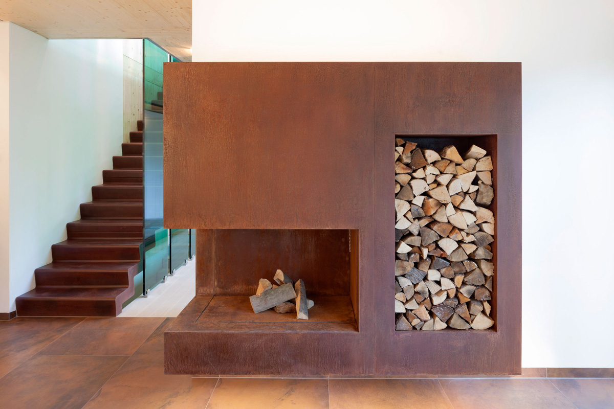 Modern Fireplace, Wood Store, Contemporary Home in Berlin, Germany