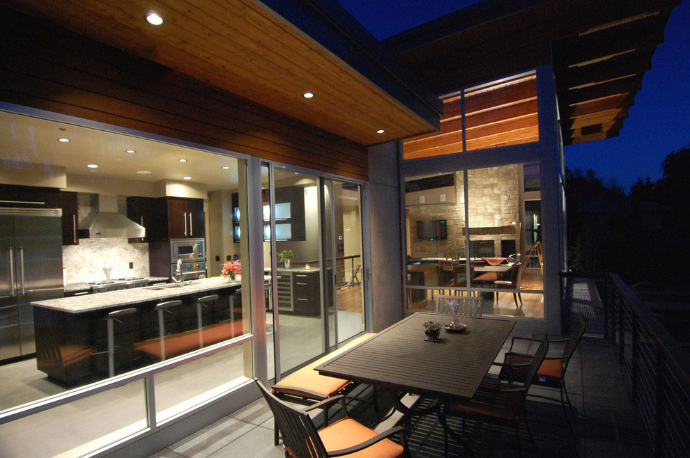 Outdoor Dining, Balcony, Glass Walls, Lighting, Stunning Home on the Columbia River in Washington