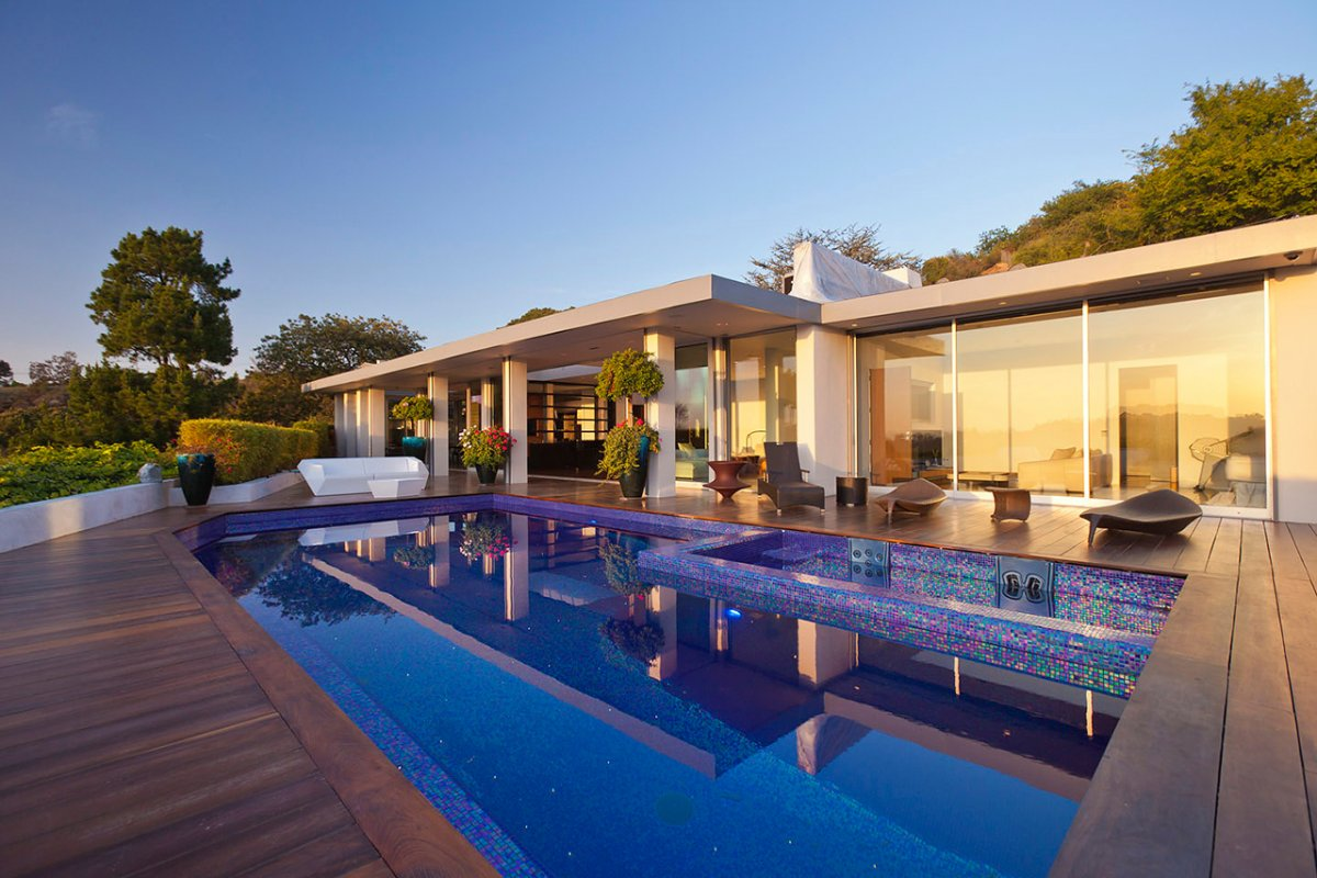 Outdoor Living, Terrace, Pool, Renovation of a Hal Levitt Home in Beverly Hills