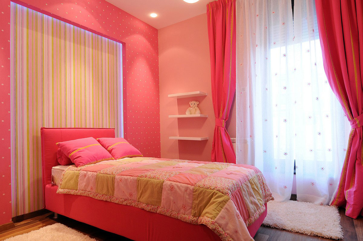 Pink Children's Bedroom, Penthouse in Belgrade, Serbia