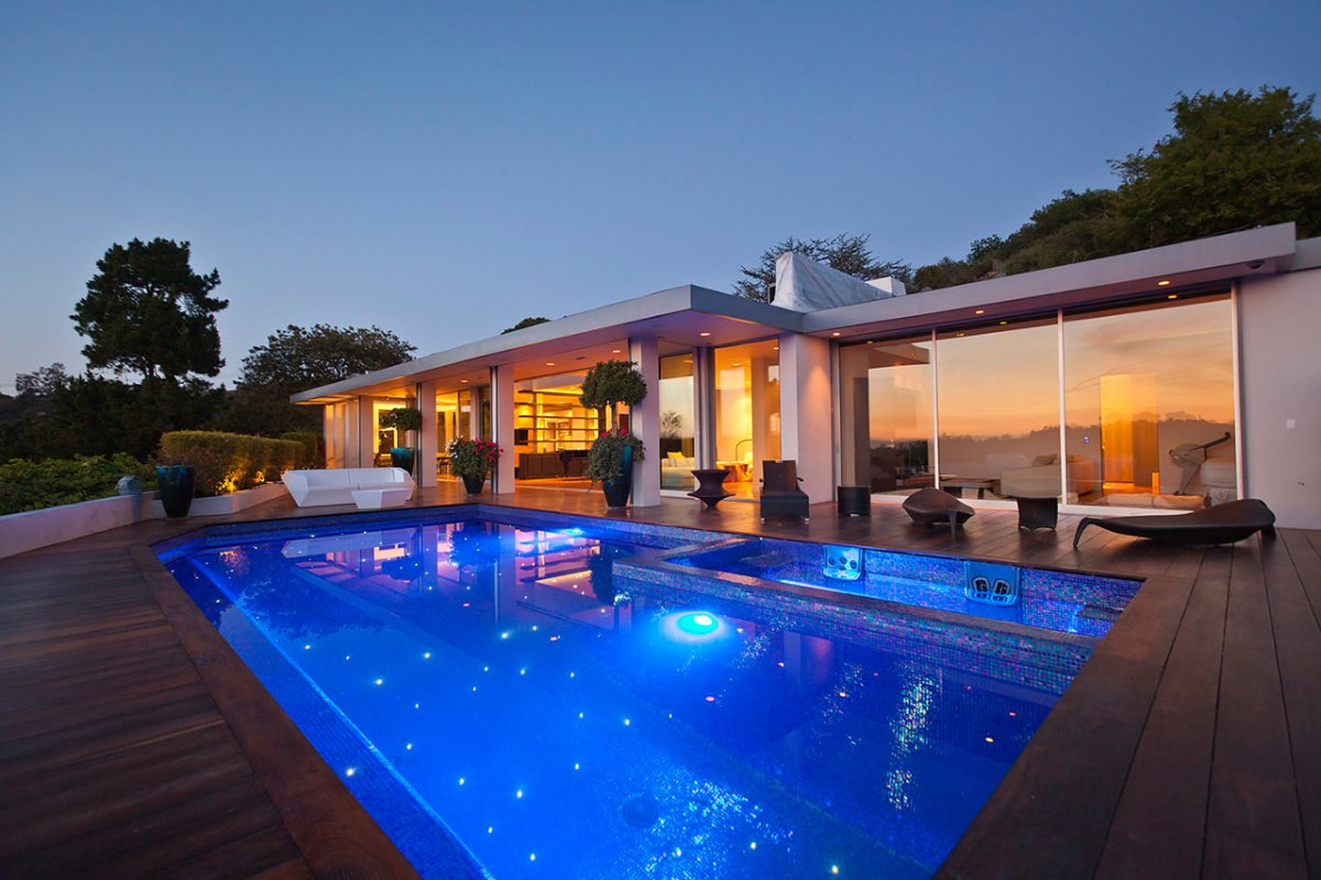 Pool, Jacuzzi, Lighting, Terrace, Renovation of a Hal Levitt Home in Beverly Hills