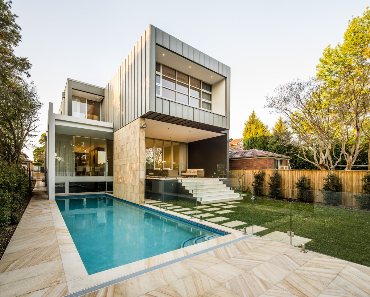 Pool, Terrace, Glass Balustrading, Contemporary Home in Strathfield, Australia