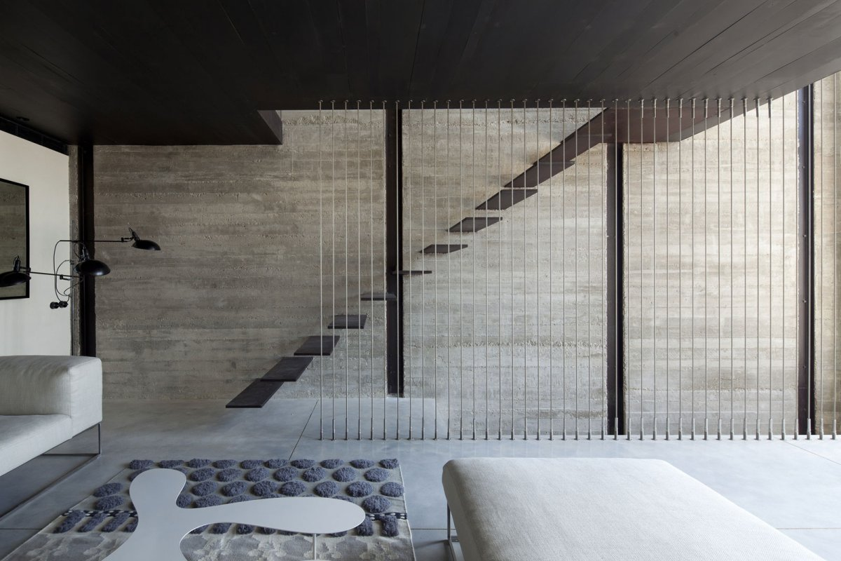 Rug, Sofa, Stairs, Contemporary Renovation in Old Jaffa, Tel Aviv