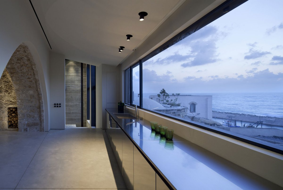 Sea Views, Kitchen, Large Windows, Contemporary Renovation in Old Jaffa, Tel Aviv
